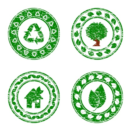 illustration of a set of green environmental icons isolated on white background Vector