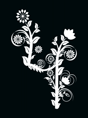 vector illustration of the number three made with floral ornament on black background Vector