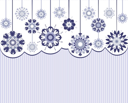Vector illustration of an abstract snowflakes on striped background