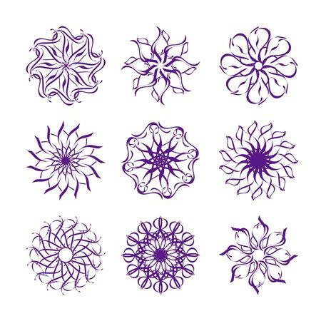 vector illustration of set of snowflakes isolated on white background Ilustracja