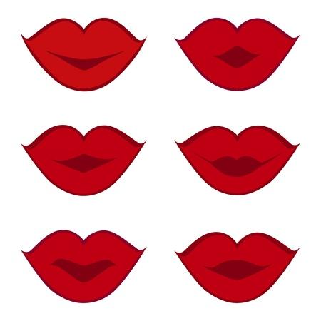 흰색 배경에 고립 된 빨간 입술의 집합의 벡터 일러스트 레이 션. 설계를위한 요소입니다. 일러스트