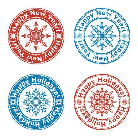 newyear: ilustraci�n vectorial de conjunto de grunge sellos happy new year
