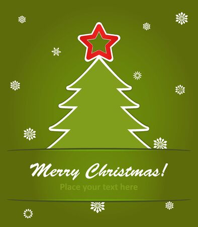 vector illustration of  christmas tree with a red star on green background with snowflakes. Vector