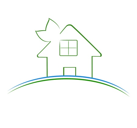 Vector illustration of a green house icon