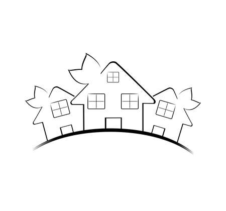 Vector illustration of the three houses isolated on white background. Real estate icon Ilustracja