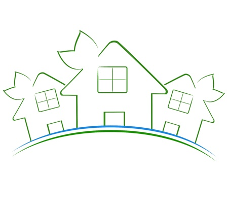 realestate: Vector illustration of the three green houses icon
