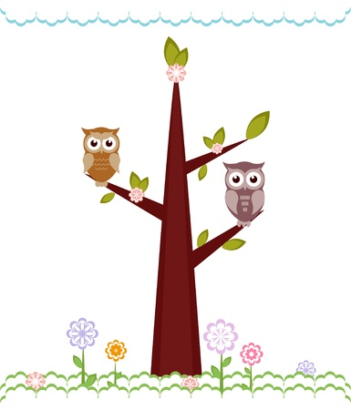 Owls  sitting on branches. Vector illustration Vector