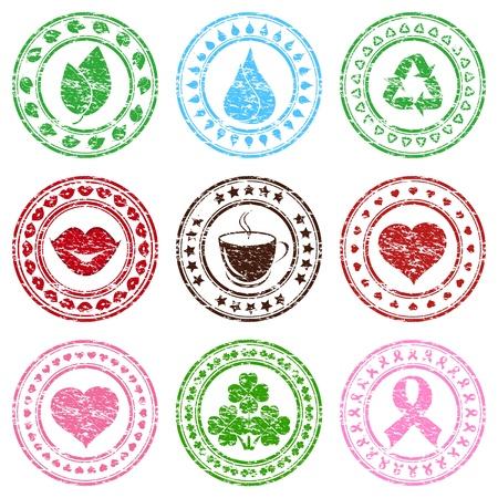 breast cancer: Vector illustration of a set of grunge stamps Illustration