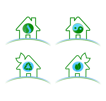Vector illustration of a set of green environmental icons isolated on white background  Vector