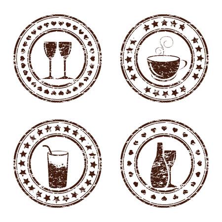 Vector illustration of set of grunge beverage stamps