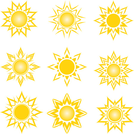vector illustration of a set of an abstract suns