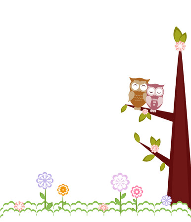 Owls in love sitting on branches. Vector illustration