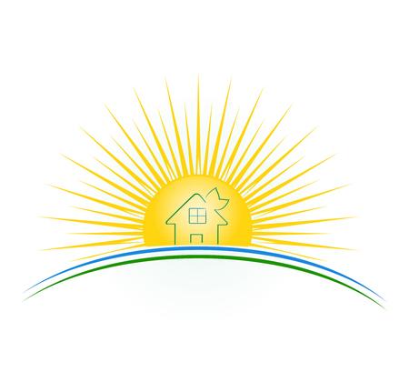 Illustration vectorielle d'une maison verte au coucher du soleil