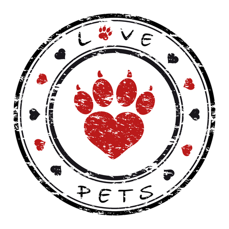 Vector illustration of a grunge stamp with pet paw