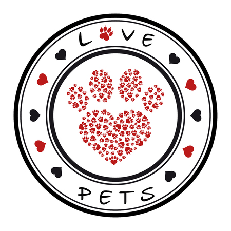 Vector illustration of a stamp with a pet paw and a text love pets Illustration