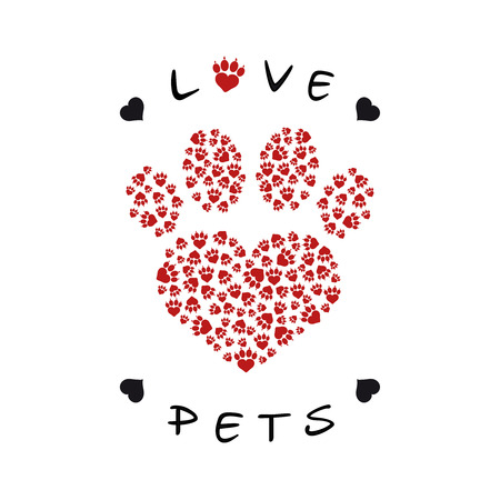 Vector illustration of a paw print made with heart shape filled with paw prints