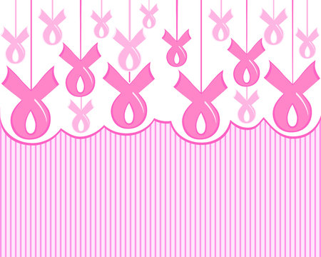 Vector illustration of a breast cancer pink ribbon awareness on stripe background Ilustracja