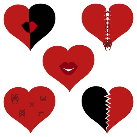 Vector illustration of a set of broken hearts. Valentines day theme.