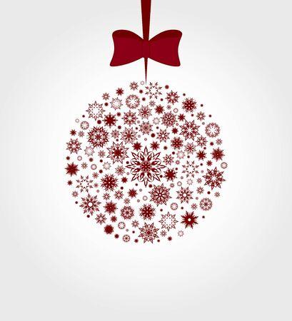 Vector illustration of a Christmas ball made with snowflakes Illusztráció