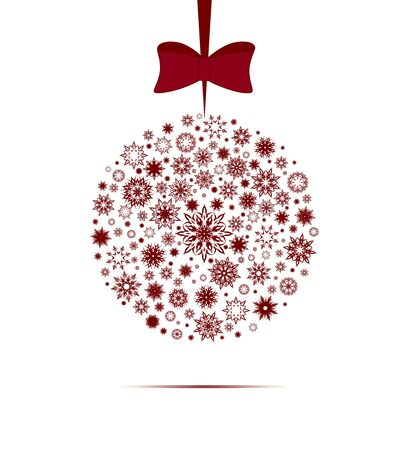 Vector illustration of a Christmas ball made with snowflakes isolated on white background.