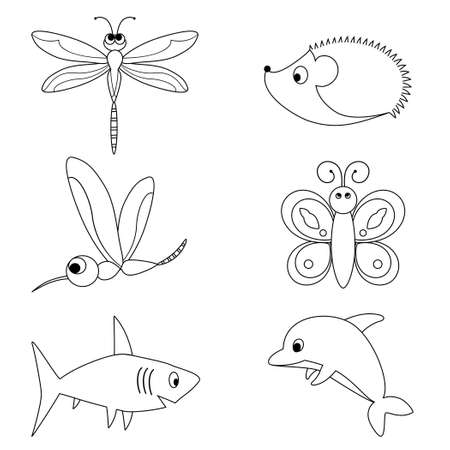 Vector illustration of  coloring book set with animals for small kids
