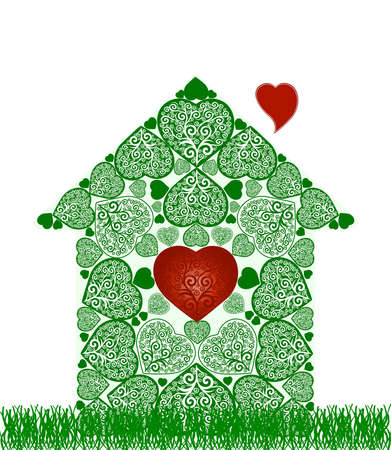 Vector illustration of a  green house and heart symbol inside. can be used as a logo