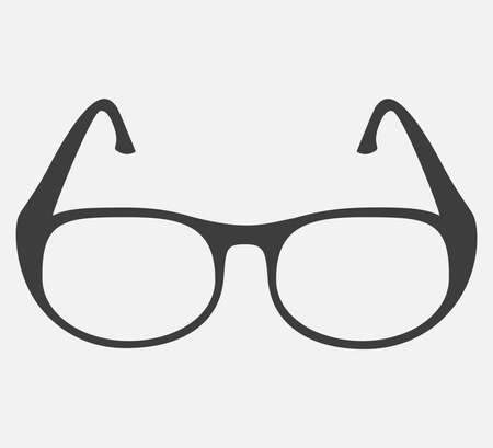 vector illustration of a black glasses on gray background