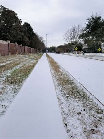 Icy road conditions in Houston Texas