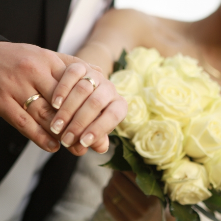 ring wedding: Bride and Groom Wedding Rings Stock Photo