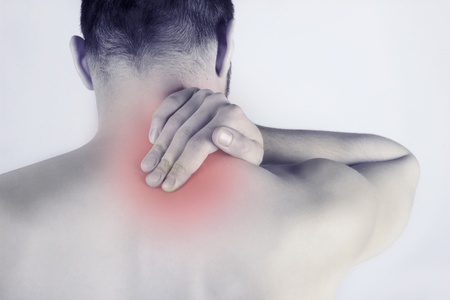 Acute neck pain - man Stock Photo - 12942143