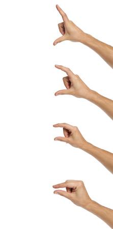 symbol hand: M�nnliche H�nde Mess unsichtbare Objekte. Isoliert auf wei�. Lizenzfreie Bilder