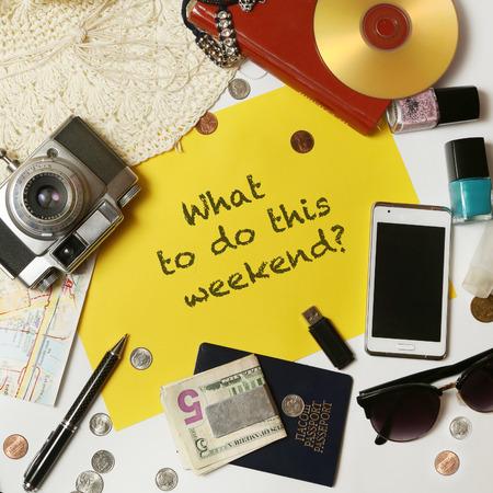 Wat staat er dit weekend? Stockfoto