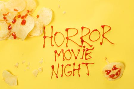 halloween concept: Horror movie night - Halloween concept Stock Photo