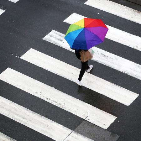 Woman crossing the zebra with umbrella Фото со стока