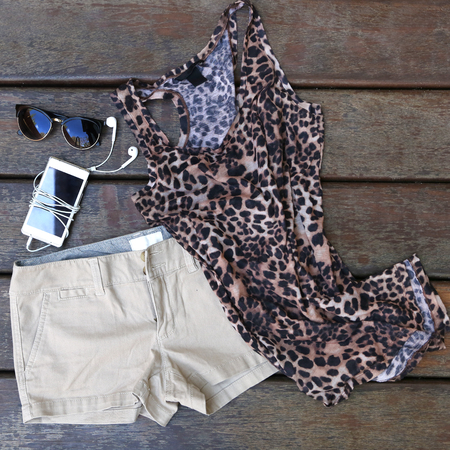 basic: Womans basic summer fashion - chino shorts with animal printed shirt