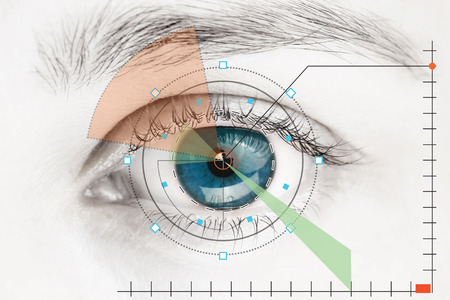 青い目のスキャナー 写真素材