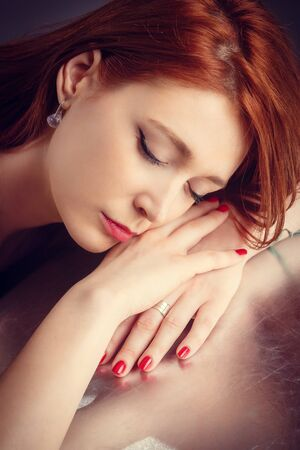 red hair beauty: Close up portrait of young woman Stock Photo