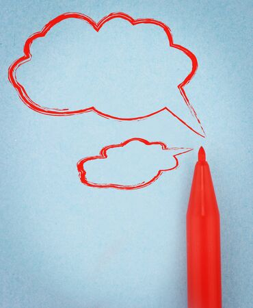 Red pen with the speech bubbles