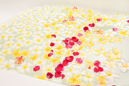 Spa bath full of frangipani flowers Stock Photo