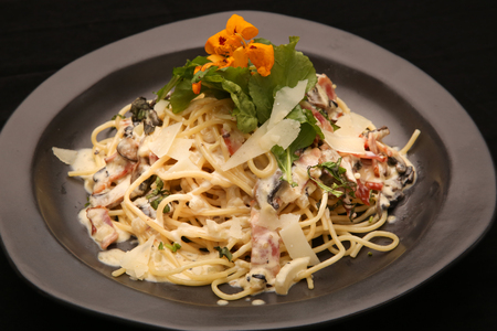 stirred: Pasta carbonara. Spaghetti with bacon and parmesan cheese