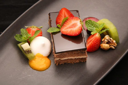 Chocolate cake with strawberries Stock Photo