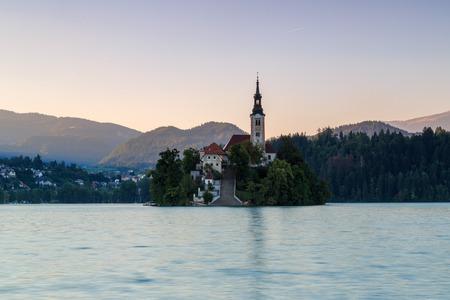 bred: Twilight in Bred lake, Slovenia Stock Photo