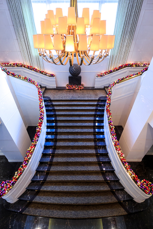 architectural lighting design: The Peninsula Hotel stairs