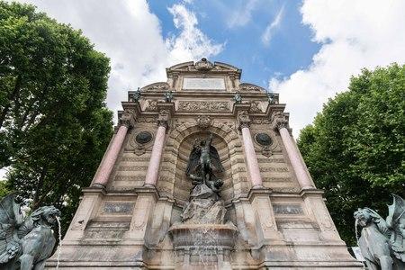 Paris Saint Michel square fountain statue