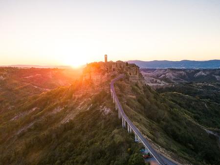 aerial sunset view of Civita di Bagnoregio