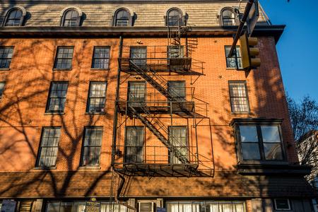 Old building fire ladder