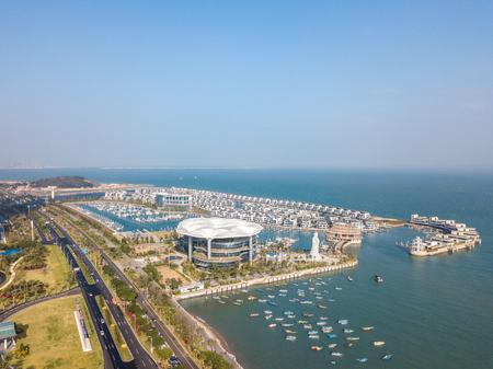 Xiamen sea yacht port aerial view