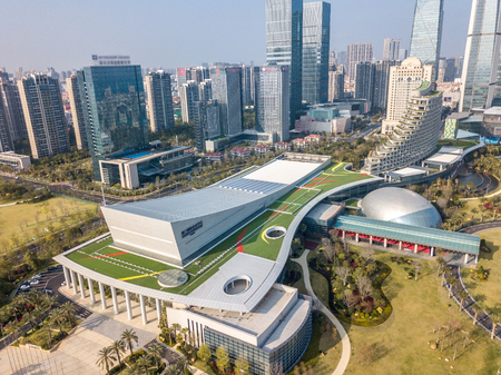 Aerial photography of Xiamen International Convention and Exhibition Center, Huandao Road commercial center