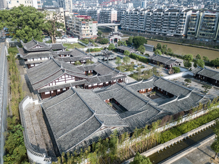 Aerial photography Sanming Youxi Cityscape and Confucius Institute
