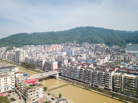 Aerial photography of rural landscape, urban landscape of Youxi County, Sanming City